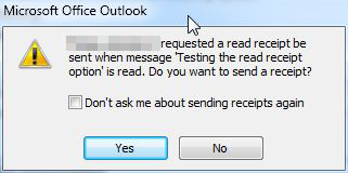 """Read receipt"" dialog prompt"