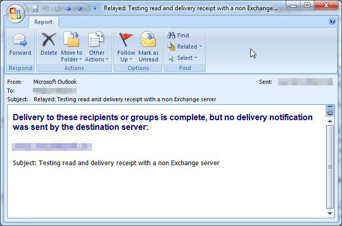 Delivery receipt and read receipt used with servers other than Exchange